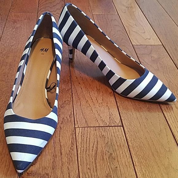 White Striped Kitten Heels | Poshmark